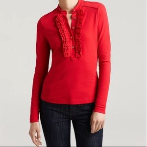 Tory Burch Romilly Ruffled Long Sleeve Top Small